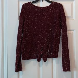 Maroon sweater with gold specks